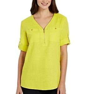 Company Ellen Tracy Green Pocket Linen Tunic  0322